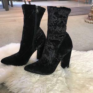 Black velvet boot heels!! Only worn TWICE